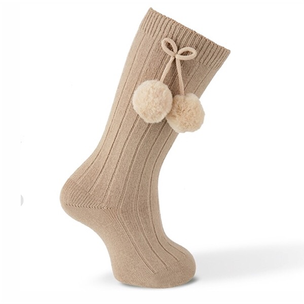 Carlomagno Ribbed Pom Pom Socks, Camel