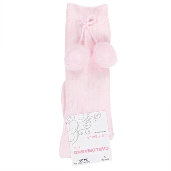 Carlomagno Ribbed Pom Pom Socks, Pink