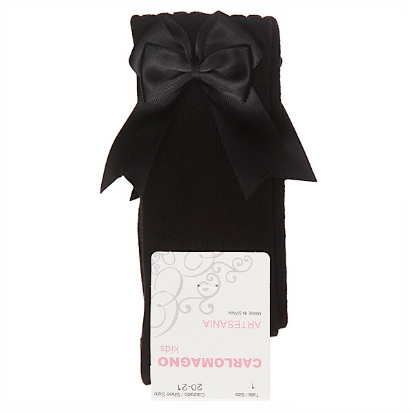Carlomagno Double Satin Bow Socks, Black