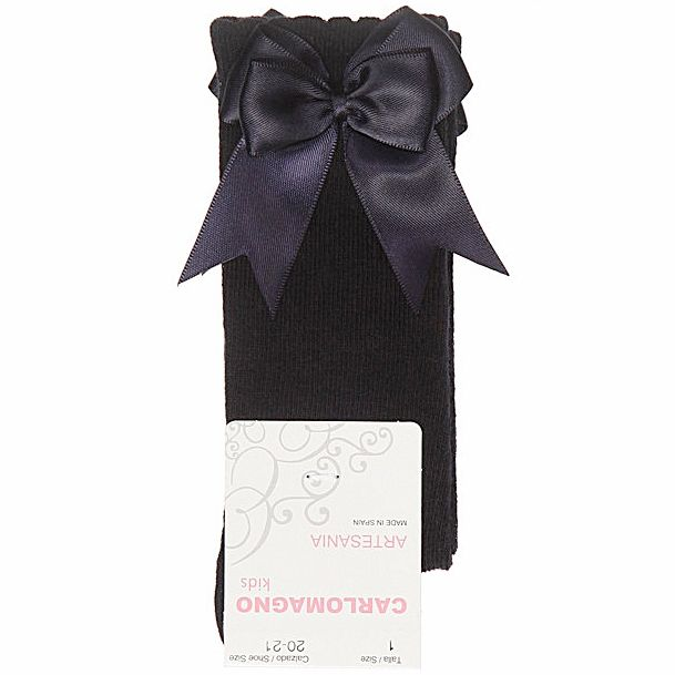Carlomagno Double Satin Bow Socks, Navy