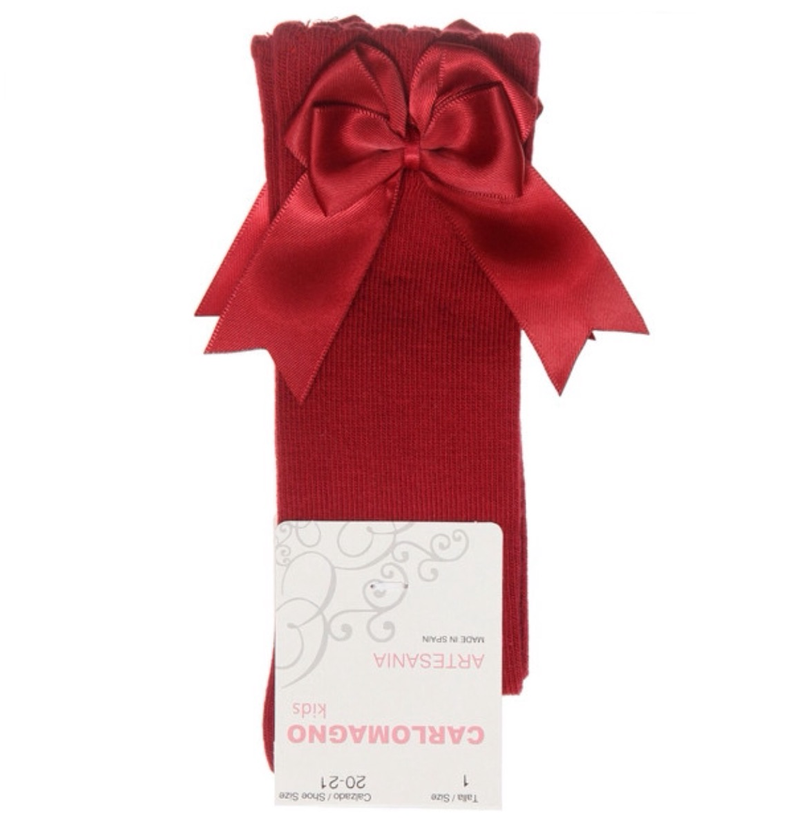 Carlomagno Double Satin Bow Socks, Red