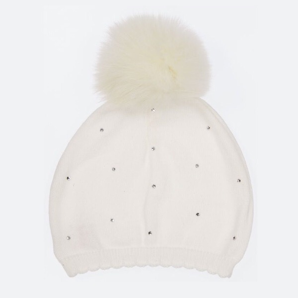 Bari Lynn Crystallised Pompom Hat, Ivory