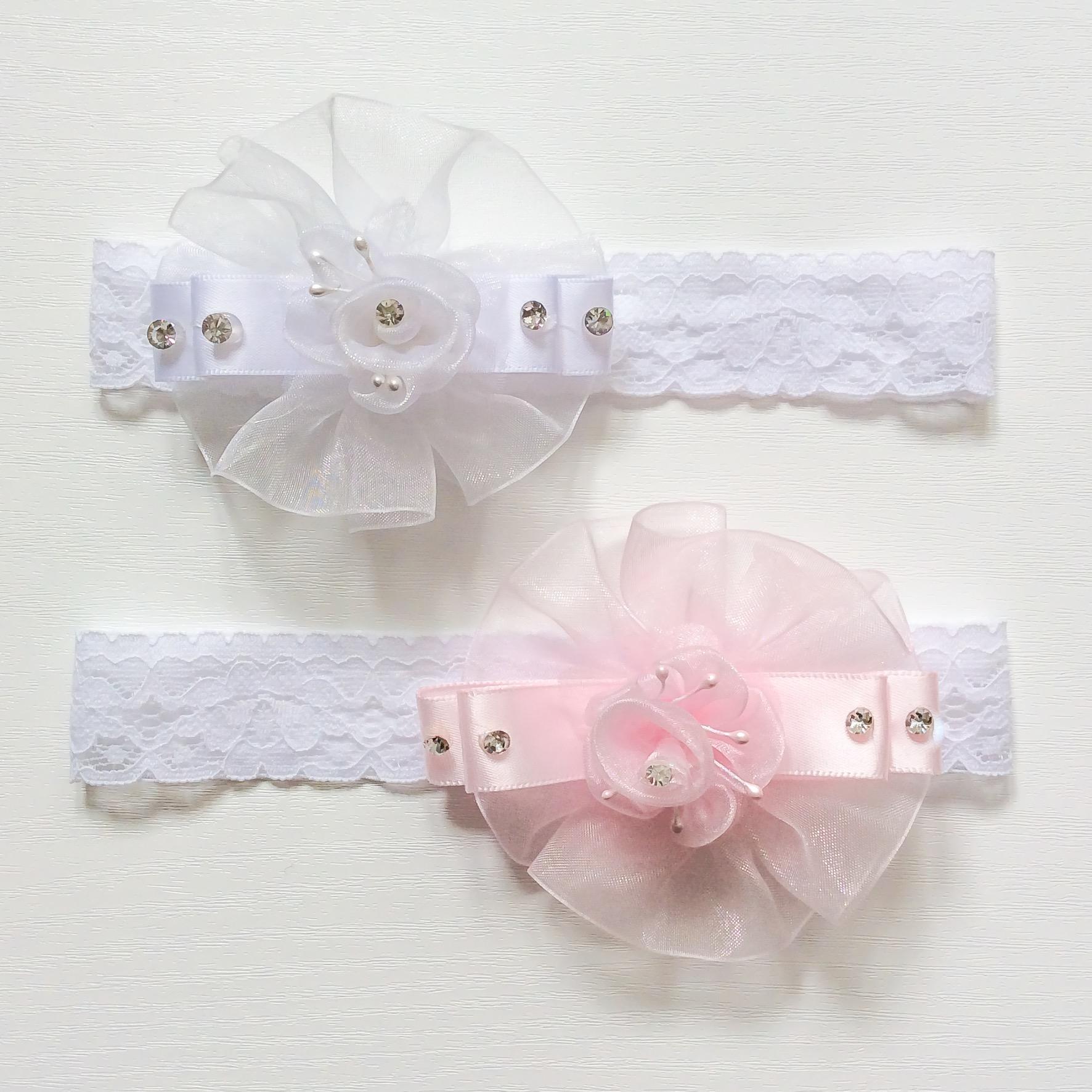 Organza Flower Headband, White, Pink & Ivory