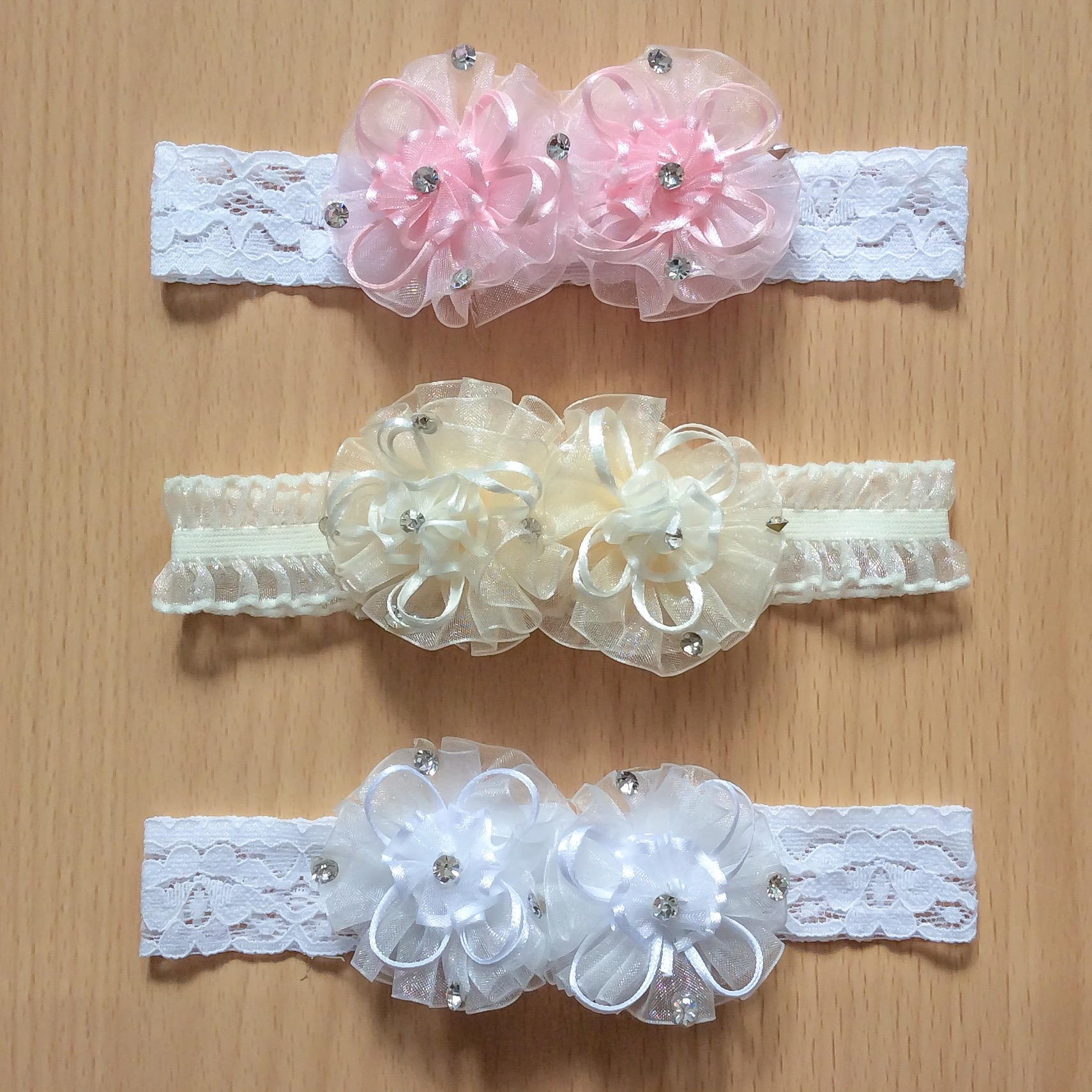 Organza Double Flower Headband, White, Pink & Ivory