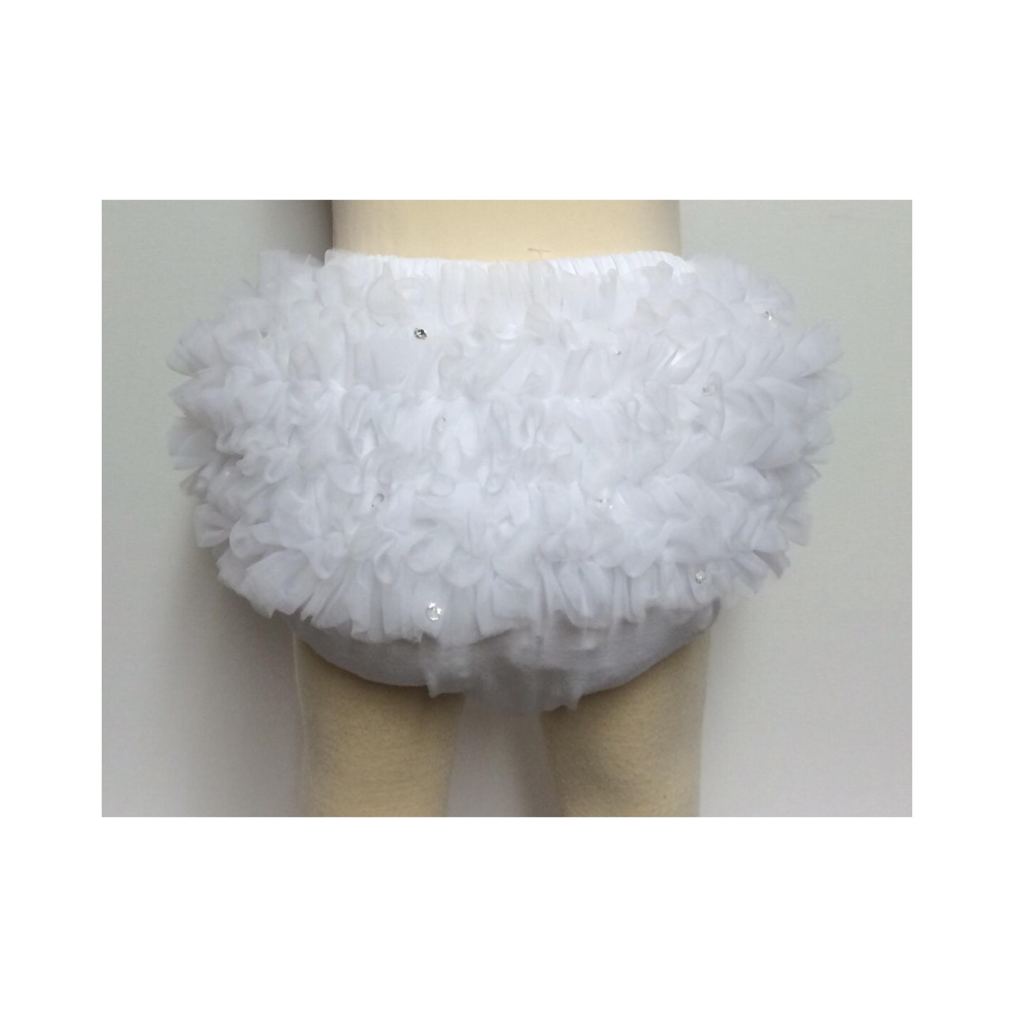 Bari Lynn Tulle & Crystal Ruffle Pants, White
