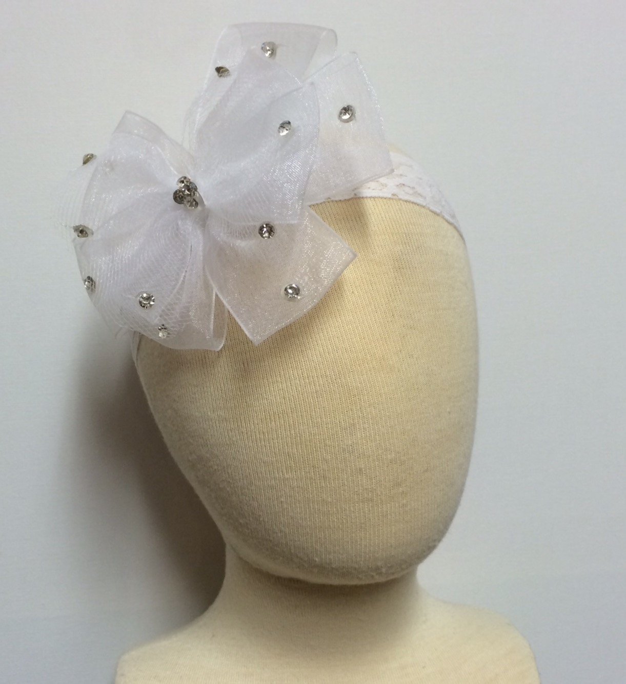 Organza & Tulle Bow Headband, White