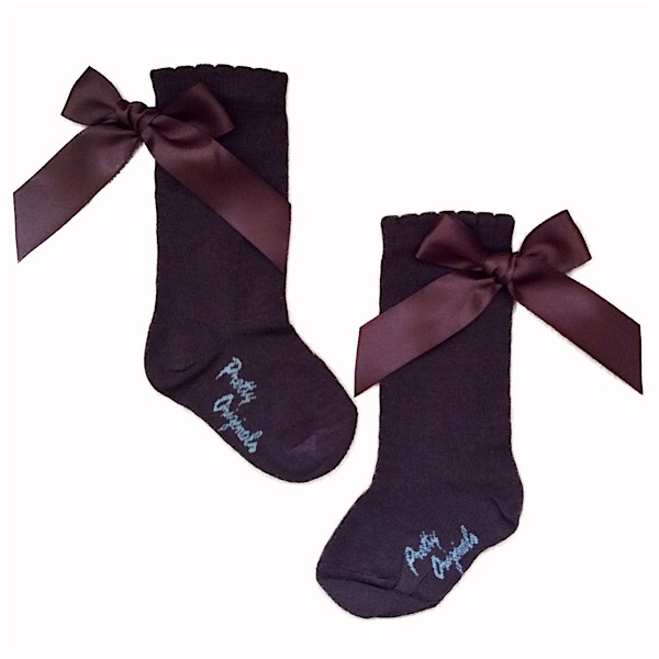Pretty Originals Ribbon Back Bow Socks, Brown