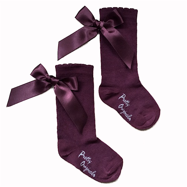 Pretty Originals Ribbon Back Bow Socks, Burgandy