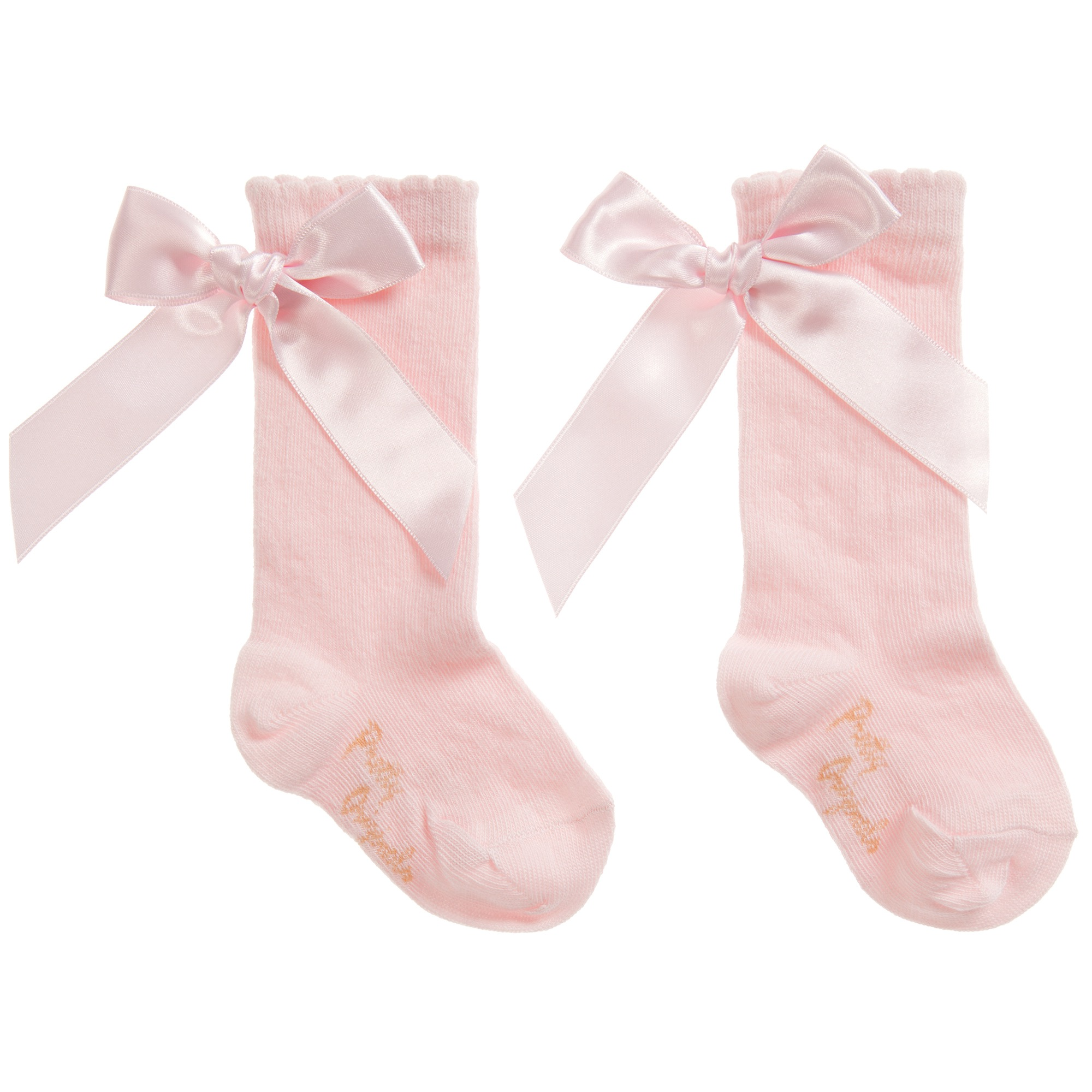Pretty Originals Ribbon Back Bow Socks, Pink