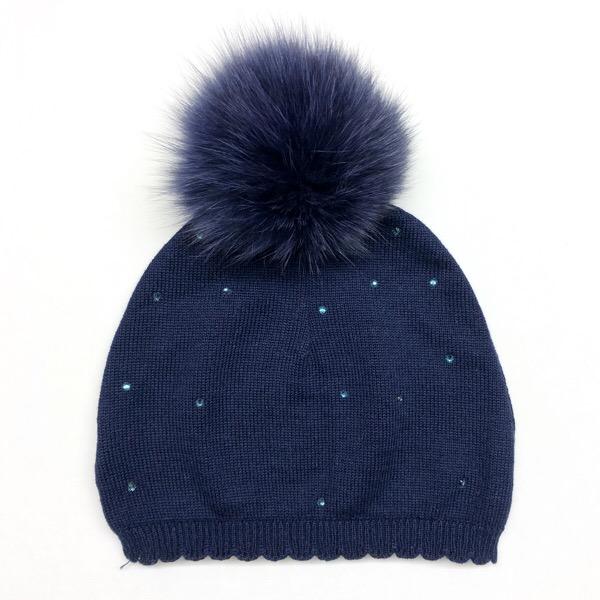 Bari Lynn Crystallised Pompom Hat, Navy