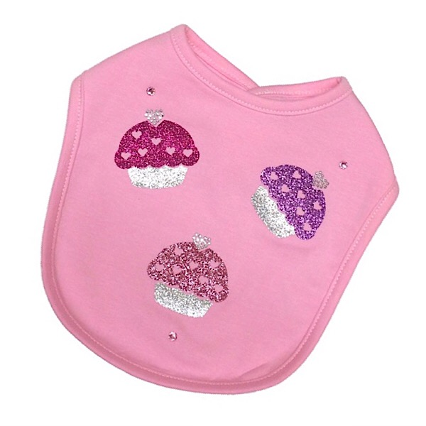 Bari Lynn Glitter Cup Cakes Bib, Pink