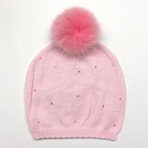 Bari Lynn Crystallised Pompom Hat, Pink