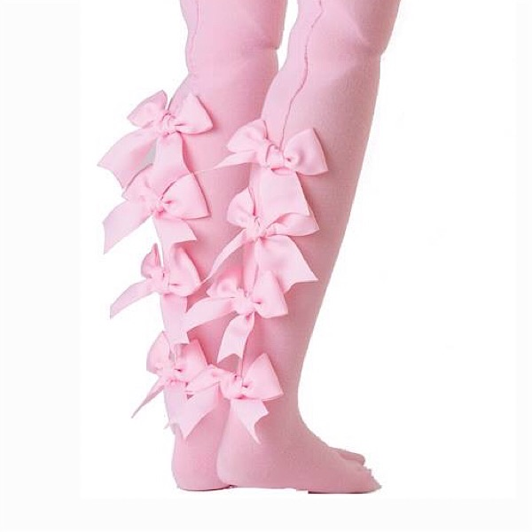 All Ruffled Up Bow Tights, Pink