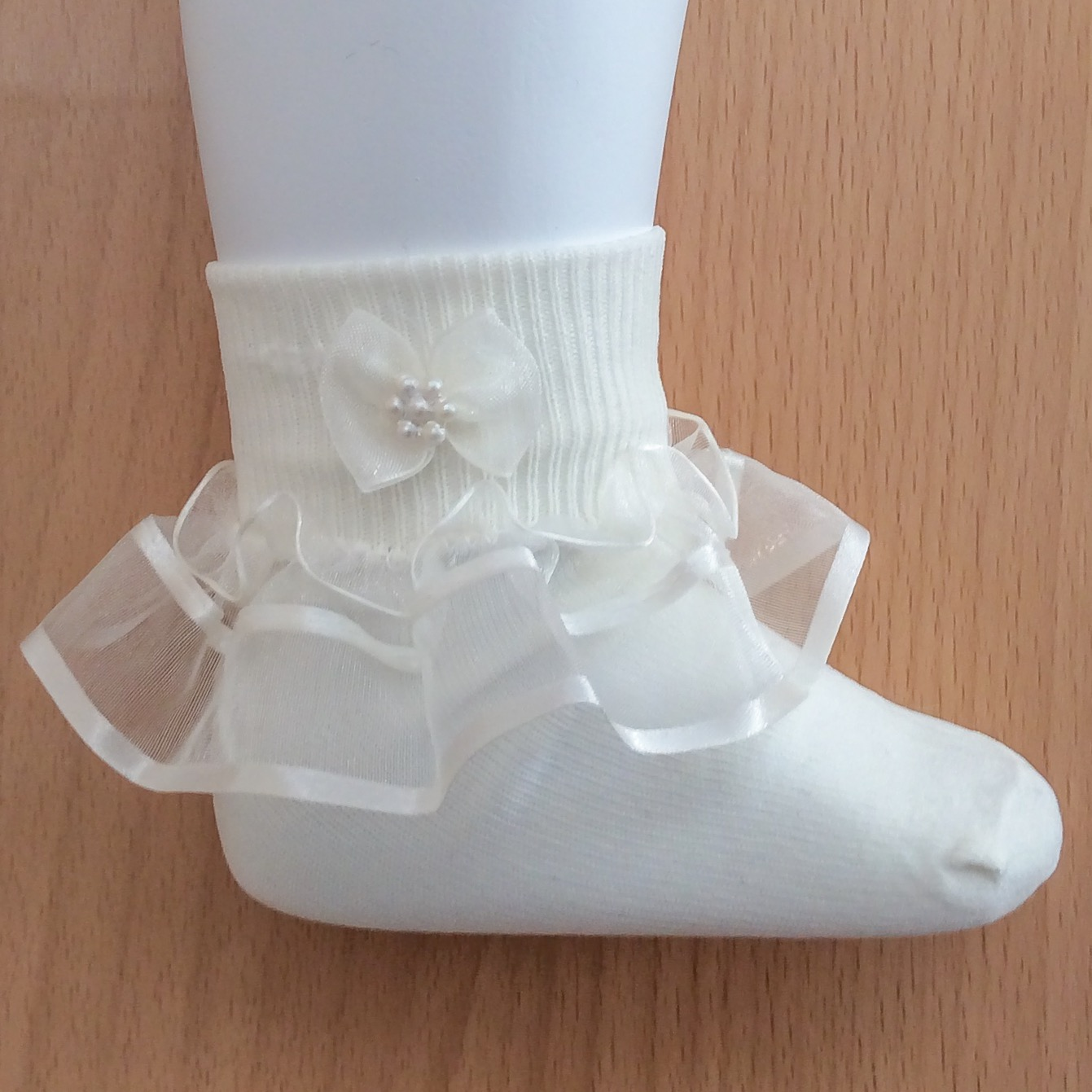 Organza Frill Socks, Ivory