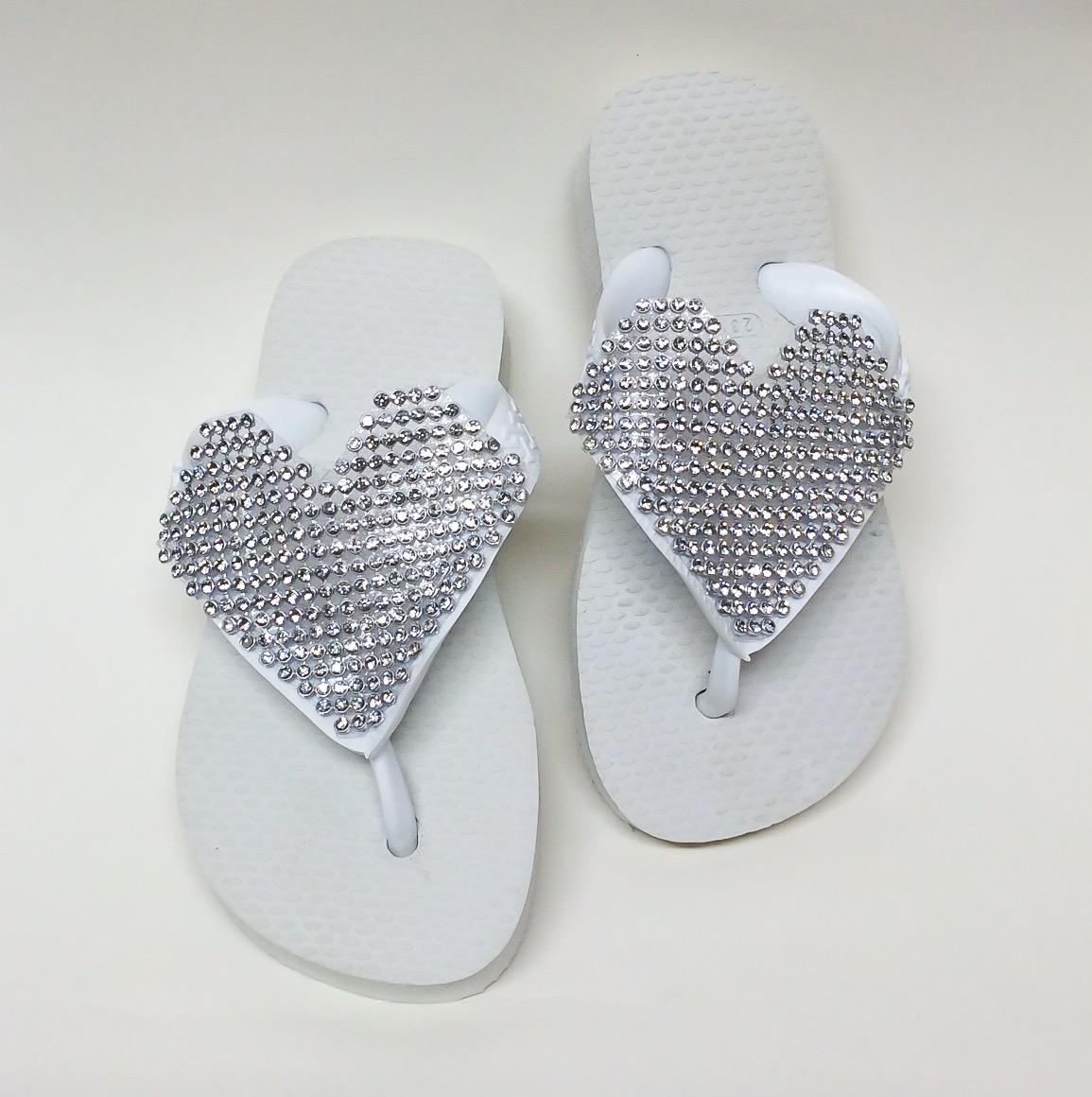 Crystal Heart Flip Flops, White