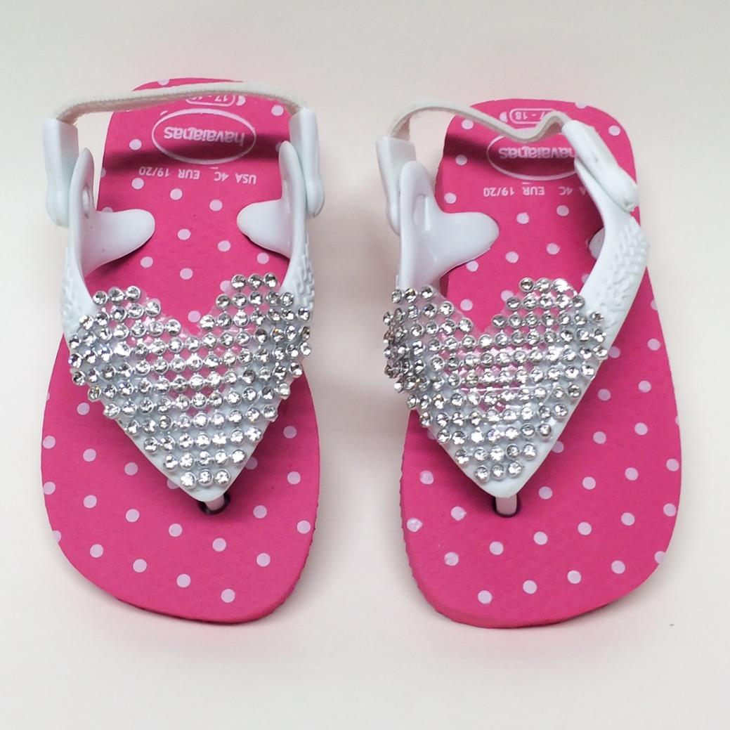 Infant Crystal Heart Flip Flops