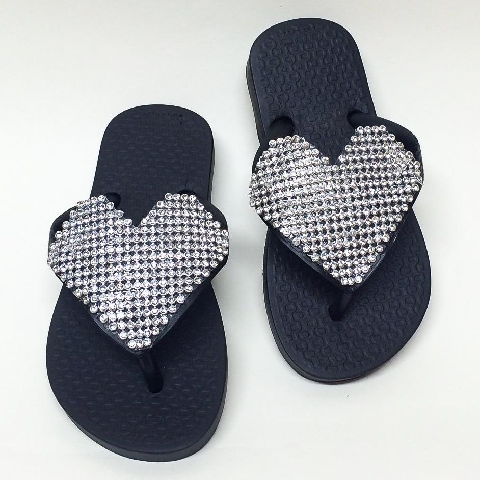 Crystal Heart Flip Flops, Black