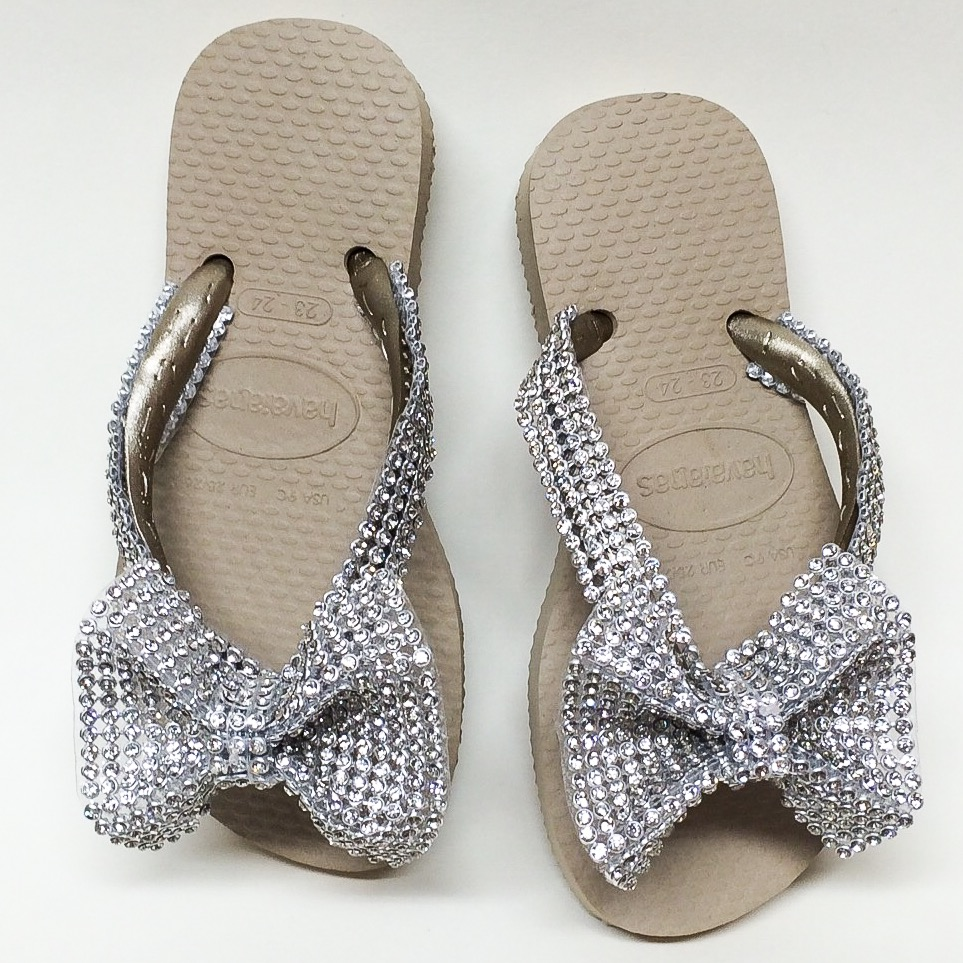 Crystal Bow Flip Flops, Gold