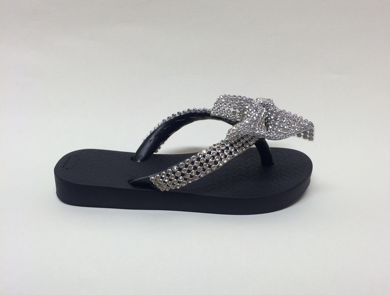 Crystal Bow Flip Flops, Black