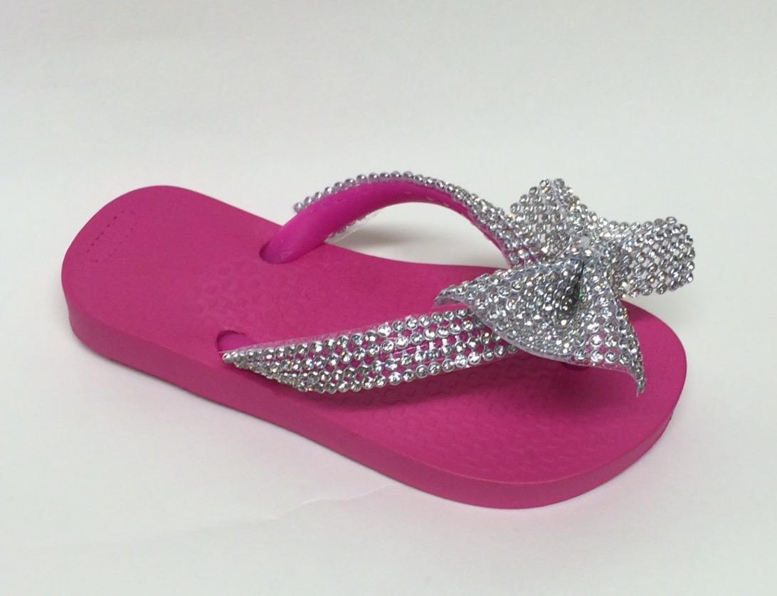 Crystal Bow Flip Flops, Pink