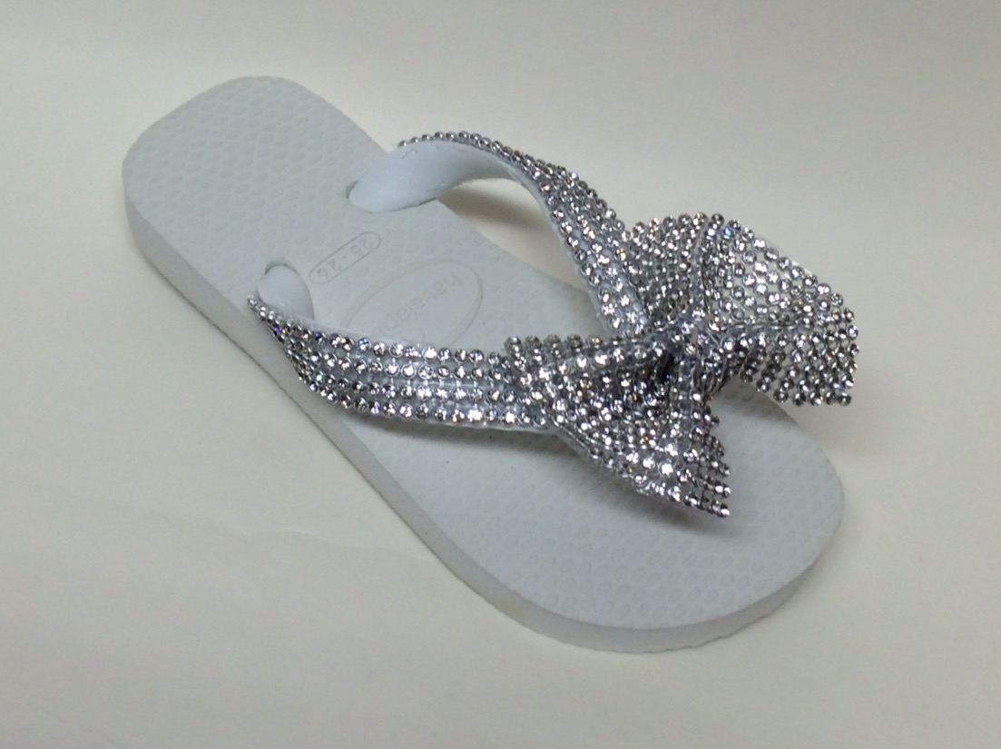 Crystal Bow Flip Flops, White