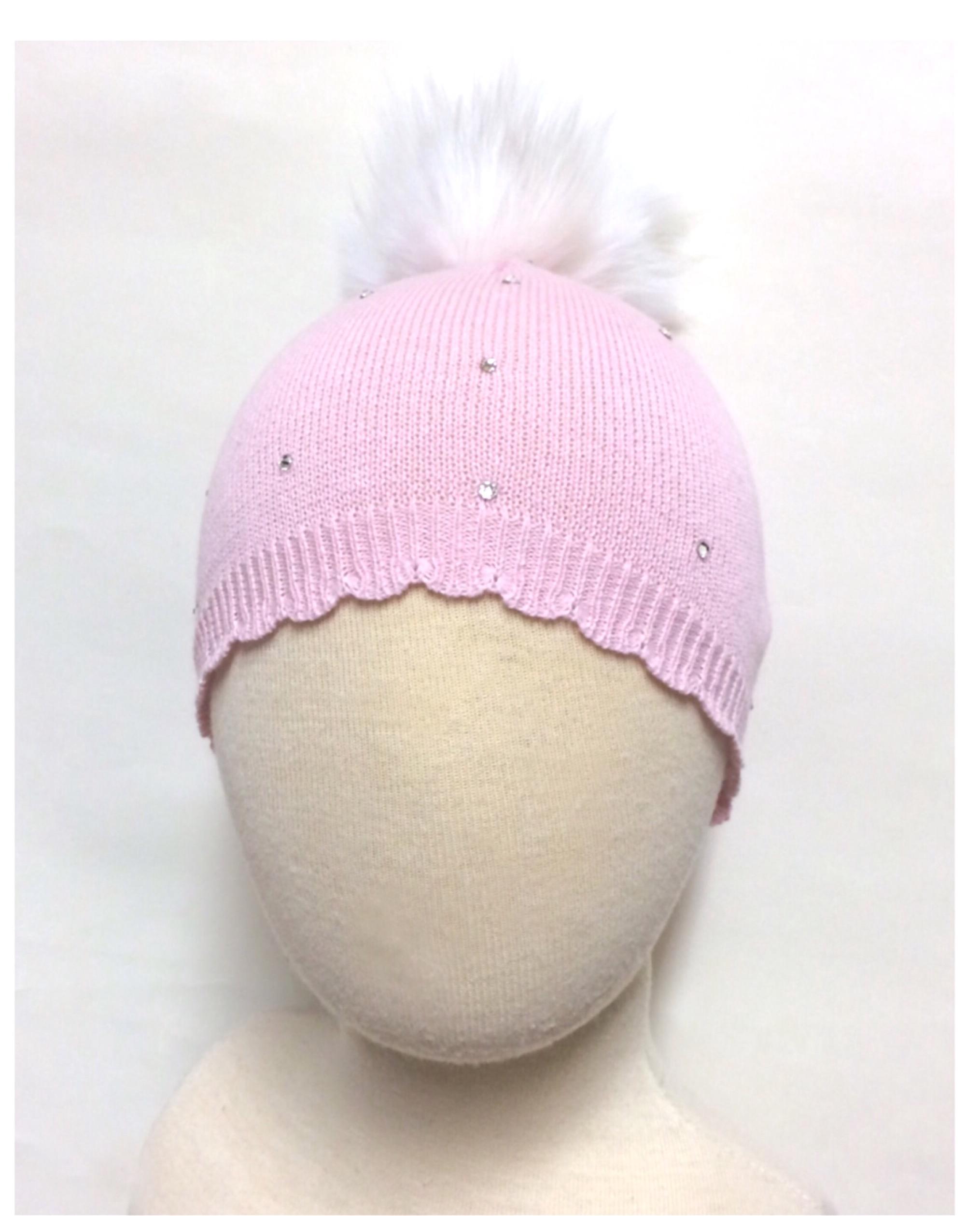 Bari Lynn Crystallised Pompom Hat, Pink & Ivory