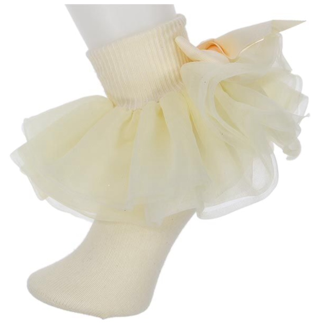 Willow, All Ruffled Up Socks, Ivory