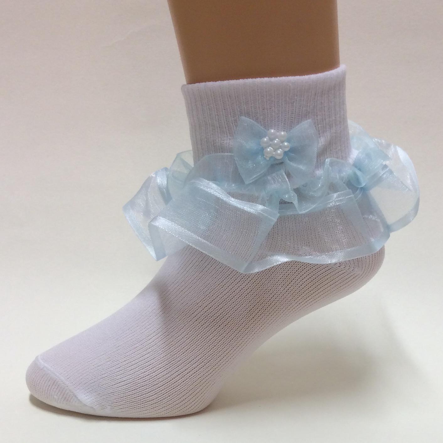 Organza Frill Socks, Blue