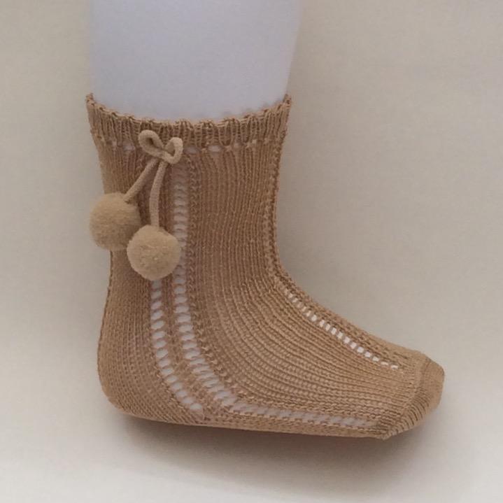 Carlomagno Open Work Pom Pom Socks, Camel
