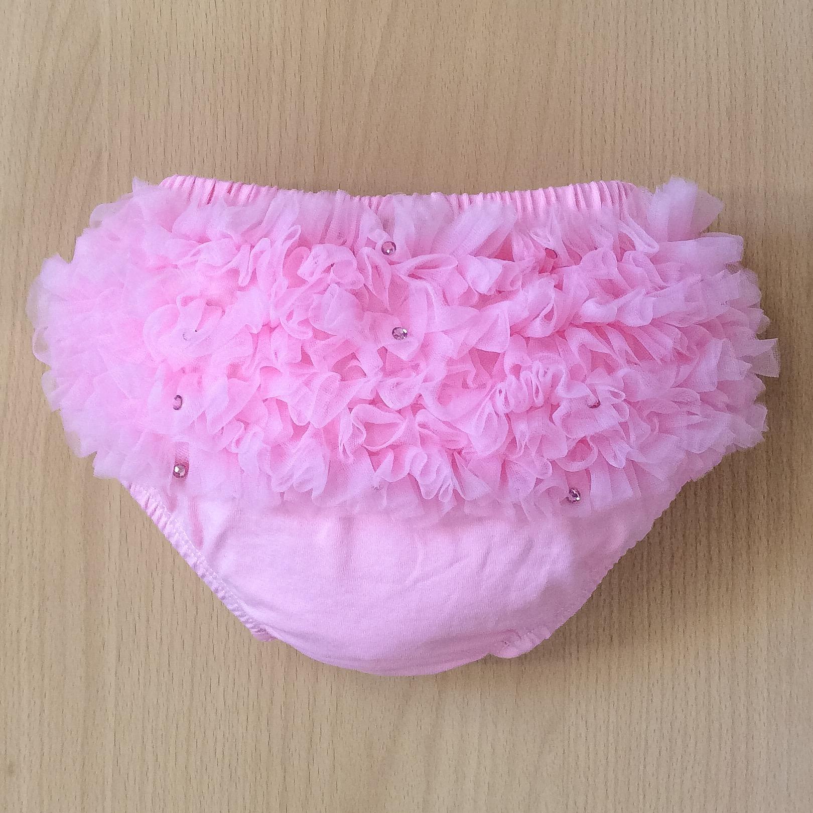 Bari Lynn Tulle & Crystal Ruffle Pants, Pink