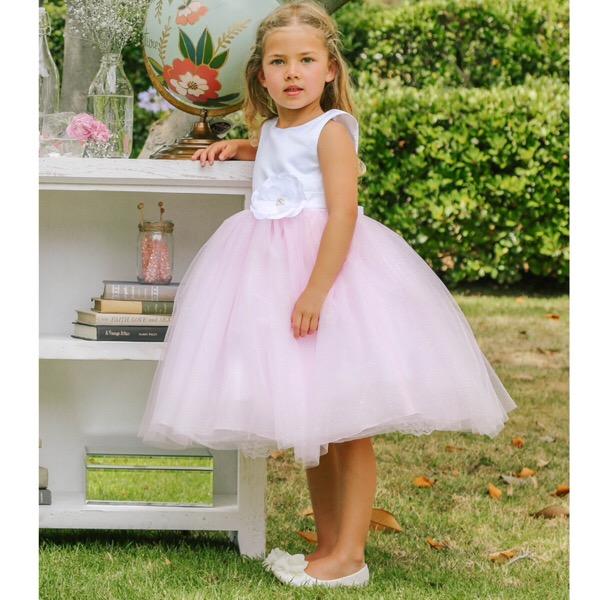White & Pink Tulle Glitter Dress