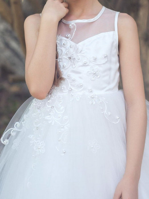 Illusion Neckline Tulle Dress, White & Ivory