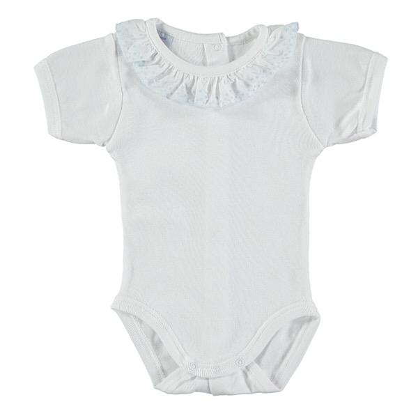 Babidu Short Sleeve Frill Collar Vest, Blue
