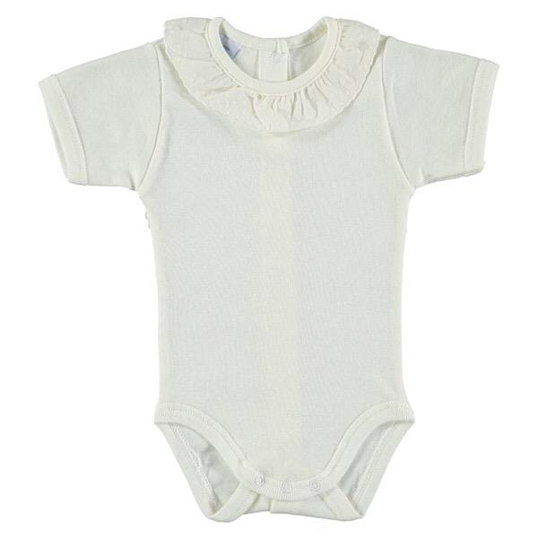 Babidu Short Sleeve Frill Collar Vest, Cream