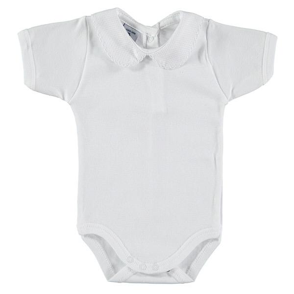 Babidu Short Sleeve Peter Pan Collar Vest, White
