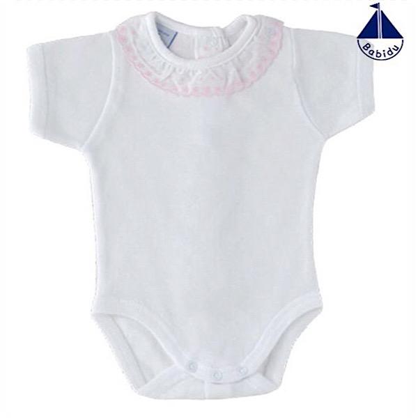 Babidu Short Sleeve Frill Collar Vest, Pink