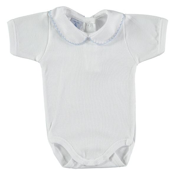 Babidu Short Sleeve Peter Pan Collar Vest, Blue Trim