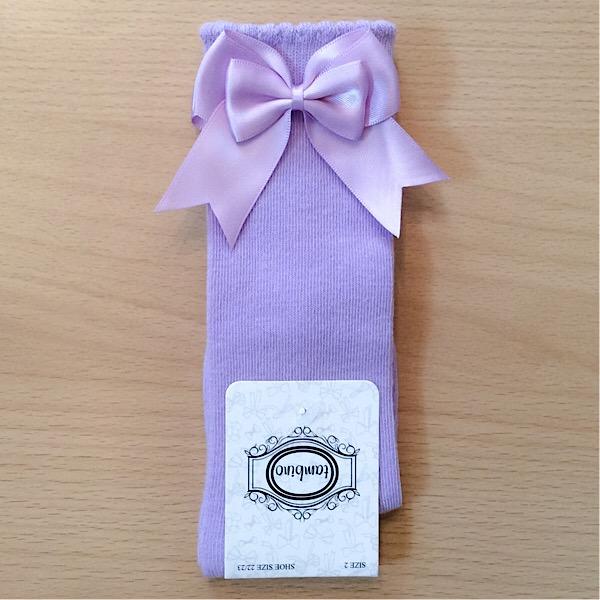 Tambino Double Satin Bow Socks, Lilac