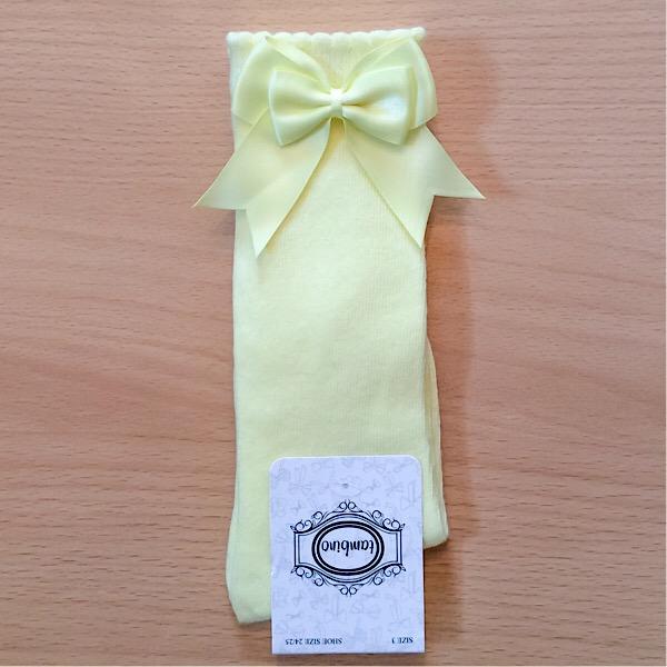 Tambino Double Satin Bow Socks, Lemon