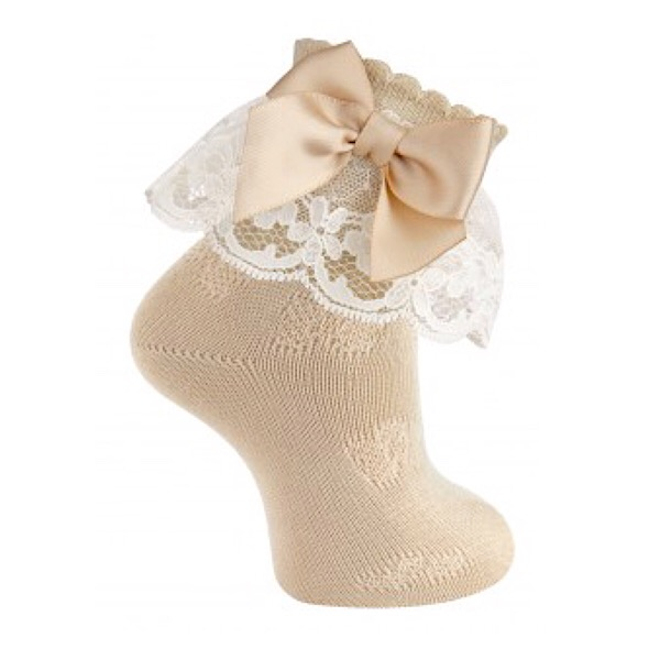 Carlomagno Lace Frill Ankle Socks, Camel