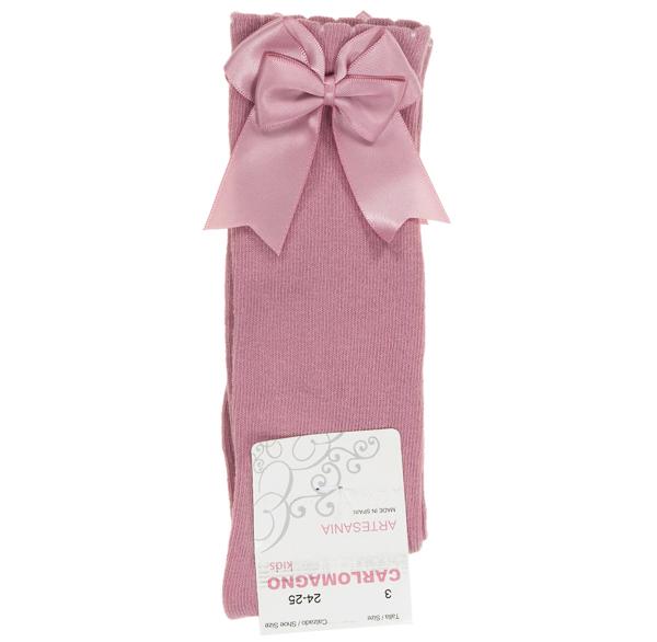Carlomagno Double Satin Bow Socks, Dusky Pink