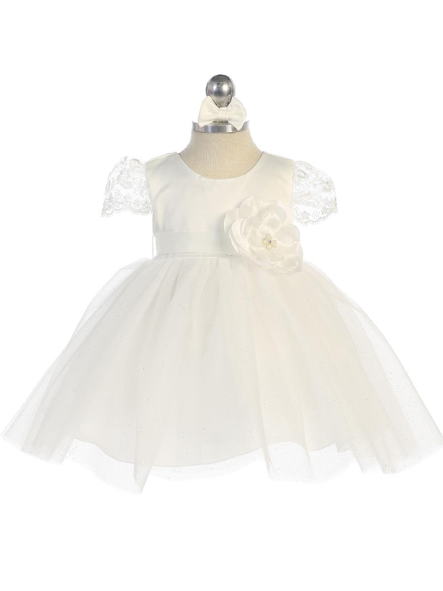 Lace Sleeve Baby Dress, Ivory