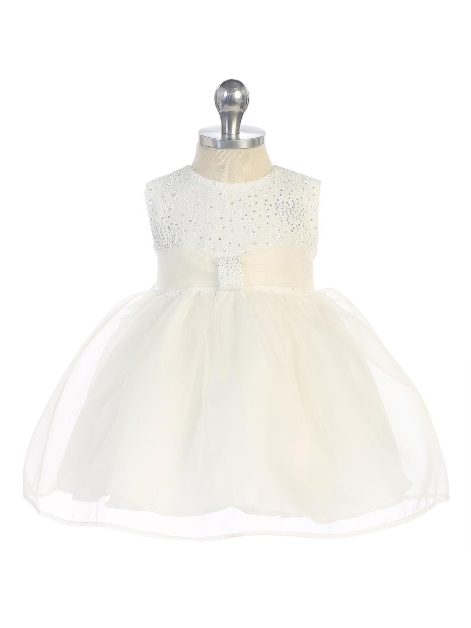 Baby Sparkle Bodice Dress, White & Ivory