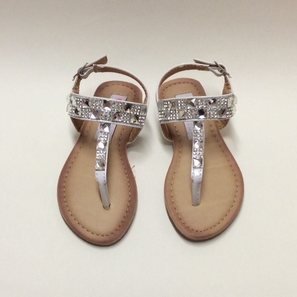 White Crystal Toe-post Sandals