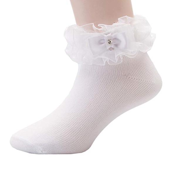 Organza Ruffle Bow Socks, White