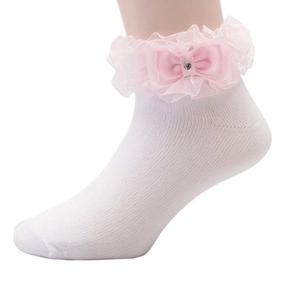 Organza Ruffle Bow Socks, Pink