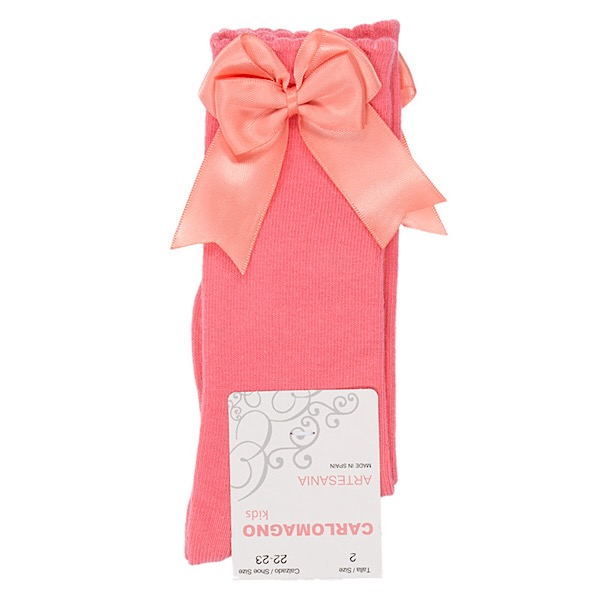 Carlomagno Double Satin Bow Socks, Coral