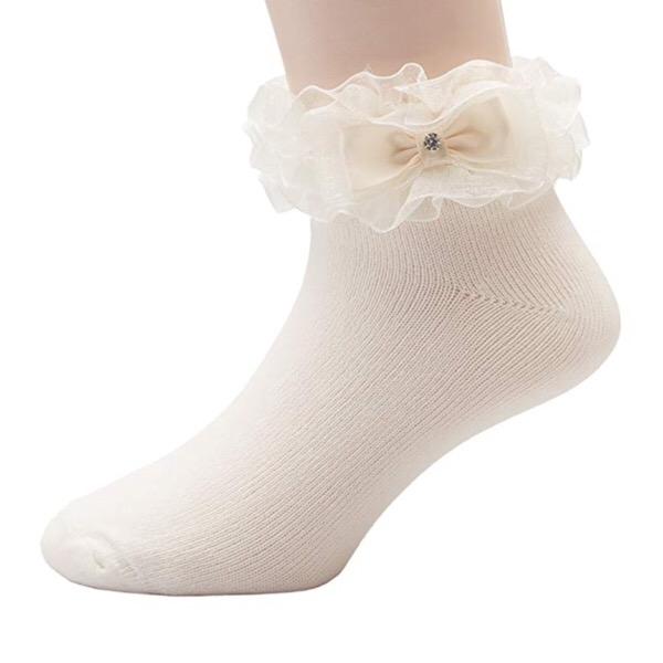Organza Ruffle Bow Socks, Ivory