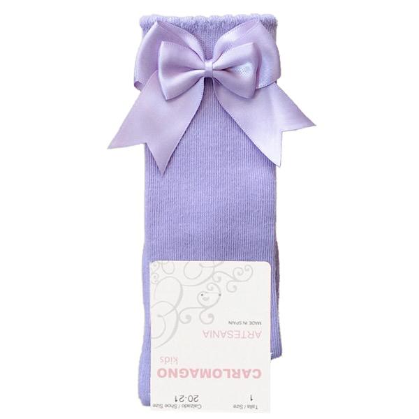 Carlomagno Double Satin Bow Socks, Lilac