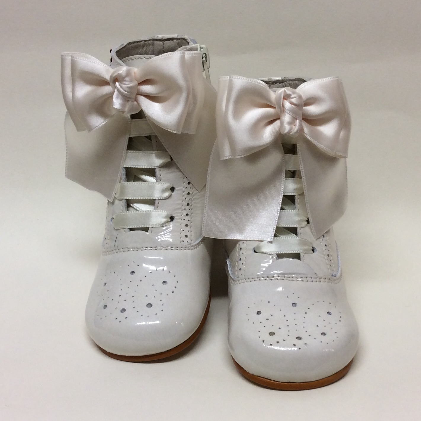 Rose Satin Bow Boots, Cream